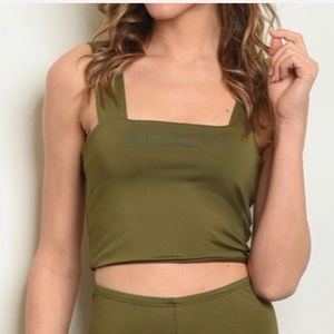 Olive green square neck crop top, NEW!